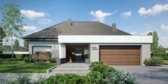 HomeKONCEPT_26_W_3_zdjęcie_2 Modern House Plans, Modern House Design, Modern Bungalow Exterior, House Design Pictures, Facade House, Home Fashion, My House, Building A House, New Homes