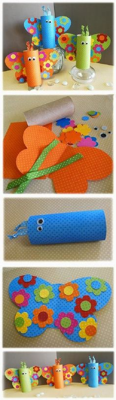 Diy Projects: 7 Toilet Paper Roll Crafts for Kids (Pour Enfant) Toilet Roll Craft, Toilet Paper Roll Art, Rolled Paper Art, Toilet Paper Roll Crafts, Kids Toilet, Diy Paper, Kids Crafts, Craft Activities For Kids, Toddler Crafts