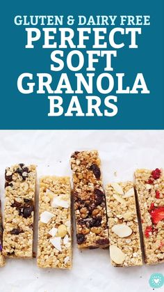 These homemade soft granola bars are loaded with goodies and naturally sweetened. A perfect healthy snack or school lunch idea! Healthy Granola Bars, Homemade Granola Bars, Healthy Bars, Soft And Chewy Granola Bars Recipe, Healthy Cereal Bars, Date Granola Bars, Healthy Food, Healthy Chicken, Healthy Nutrition
