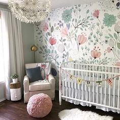 Floral Wallpaper Accent Wall, so whimsical and sweet!