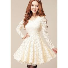 Long Sleeves Sweet Style Scoop Neck Polyester Lace Splicing Women's Dress, WHITE, XL in Long Sleeve Dresses | DressLily.com
