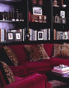 built ins behind the couch La Dolce Vita: Glamour Obsession: Burgundy, Bordeaux, Merlot