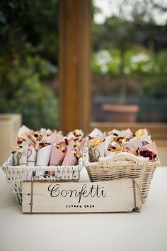 The Real Wedding Company's home-made confetti, cones and sign!  Photography by Justin Bailey  Venue, Gaynes Park