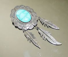 Vintage Mexico Brooch w/Turquoise & Silver Dangles | eBay