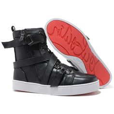 Christian Louboutin Spacer Flat High Top Women's Sneakers Leather Black