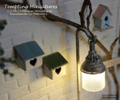 2 wooden birdhouses 1:12th Dollhouse by TemptingMiniatures