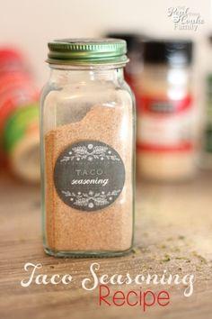 Taco Seasoning - flour - chili powder - garlic powder - salt - paprika - cayenne pepper - sugar - cumin - oregano - The Real Thing with the Coake Family
