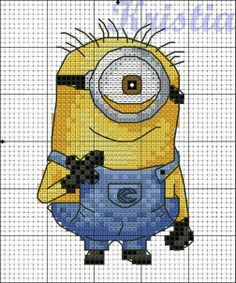 Minion. Cross stitch pattern 1 Could be adapted in emb software for machine embroidery