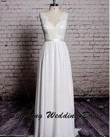 Dazzling Lace V- Neck Backless Sheath Long Wedding Dress Floo...