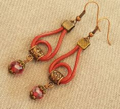 Red Real Leather Cord Dangle Drop Loop Earrings / Red Crystal Glass Beads / Copper Ear Wires & Findings /Boho Southwest Style  Gift for Her by BeadedDelightJewelry on Etsy