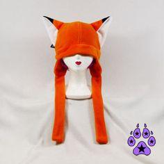 Orange Fox kitsune cat fleece Hat ski ear flap warm by pawstar, $25.00