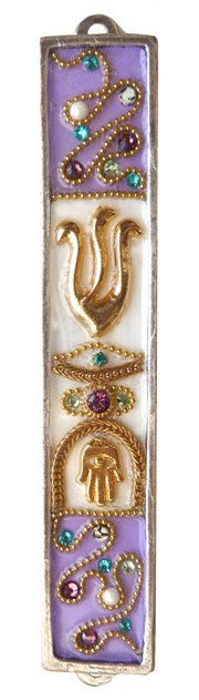 New  Beautiful Mezuzah Swarovski crystal Metal  Gold