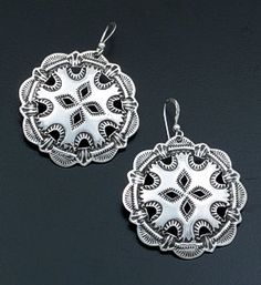 Kevin Ramone (Navajo) - Stamped & Cut-Out Round Sterling Silver Dangle Earrings #40607 135.00