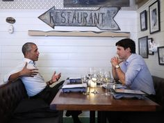 Former President Barack Obama shares a meal with Canadian Prime Minister Justin Trudeau in Montreal where they discussed the next generation of leaders, the two men said on social media. (Photo by @obamafoundation)