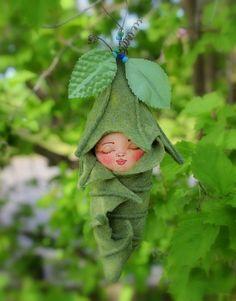 Sleeping Fairy Baby Fabric and Felt fantasy Art Doll by Treenickel