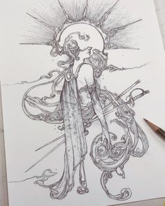 Timothy Von Rueden on is part of pencil-drawings - Blind Confidence My first piece of 2019 and one to start off with a lot of excitement and drive going forward into the new year! Art Sketches, Art Drawings, Fantasy Drawings, Fantasy Tattoos, Pencil Drawings, Character Art, Character Design, Anime Art Fantasy, Arte Horror