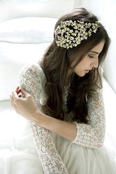 Tocado de novia de ceras blancas