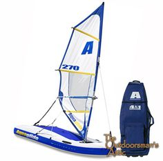 The Multisport 270 inflatable from Aquaglide combines the joy of sailing and the thrill of windsurfing in a compact package that can go just about anywhere. In just minutes, convert from windsurfer to kayak to sailboat - even a tow toy or tender!  Features include:  ?Set up time approximately 10 minutes ?Easily convert from sail to windsurfer.  ?Stable ?Wheeled storage bag houses all components and can fit in most car trunks. ?Includes roller travel bag, tiller handle, rudder, 2 keel pieces…