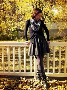 Fall outfit :) infinity scarf, leggings, boots, love!