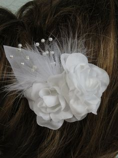 White Bridal Flower Clip - Wedding Hair Flower - Wedding Accessory -Feathers-Pearls on Etsy, $8.90