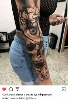 Arm Sleeve Tattoos For Women, Dope Tattoos For Women, Skull Sleeve Tattoos, Shoulder Tattoos For Women, Best Sleeve Tattoos, Portrait Tattoo Sleeve, Realistic Tattoo Sleeve, Tattoo Women, Women Sleeve