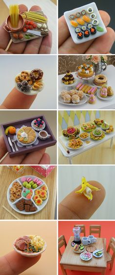 techlovedesign: The Cutest Miniature Food – I love this! Wonder how much of it I… techlovedesign: The Cutest Miniature Food – ik vind dit geweldig! Vraag me af hoeveel ik ervan zou kunnen maken. Miniature Crafts, Miniature Food, Miniature Dolls, Polymer Clay Miniatures, Polymer Clay Charms, Fimo Clay, Dollhouse Miniatures, Doll Crafts, Clay Crafts