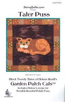 Tater Puss Garden Patch Cats Quilt Block Pattern - only $7.99 in my store:  http://lisasstitchingpost.com/product_info.php?cPath=129_131_72_63&products_id=975 #gardenpatchcats #gardencats #vegetablecats #potatocat #foodcat #catapplique #catquiltblock #heleneknott #storyquilts #taterpuss