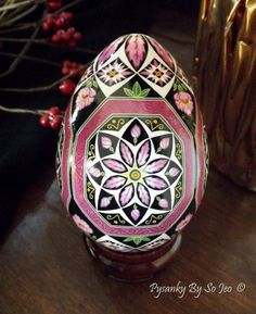 Pink Octagons Ukrainain Easter Eggs Pysanky By So Jeo