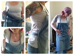 Make a denim apron from old jeans. I have old jeans. I have a sewing machine. I need some aprons. Is it possible that I would actually complete this one? Hmmm...