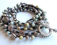 Boho wrap bracelet / necklace crochet bracelet by CoffyCrochet