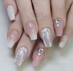 21 Cool Coffin Shape Nails Designs to Copy in 2018 ❤ Exquisite Nude Coffin Nails picture 3 ❤ Coffin shape nails look very sophisticated. They make your hands look more slender. Use our nail design ideas or create your own ones! Glam Nails, Beauty Nails, Cute Nails, Diy Nail Designs, Simple Nail Designs, Beautiful Nail Art, Gorgeous Nails, Bridal Nails, Wedding Nails