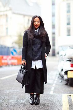 Eva Pineda, Bookings Assistant All Saints black coat, Massimo Dutti roll neck jumper, Brioni shirt, Kate Spade trousers, Russell & Bromley ankle boots, Charlotte Valkeniers rings, Saint Laurent black bag. What ELLE Wears, LFW SS 2016 Street Style.