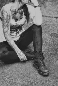 awesome tattoos, pants, and boots