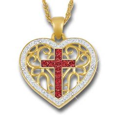Love & Faith Birthstone Cross Pendant - July