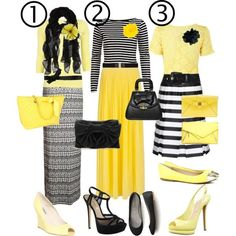 """Black-White-Yellow! Comment which outfit is your favorite!"" by modestlyme97 on Polyvore"