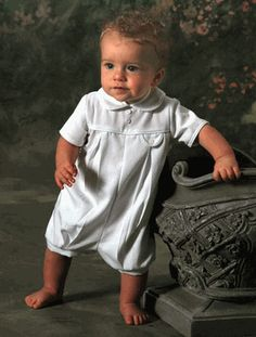 Precious! Pleated Gabardine Boy Christening Romper with Faux Pocket