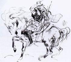 Sketch for Attila by DELACROIX, Eugene #art