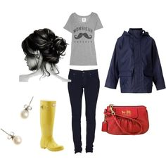 Nautical and Stylish on a Rainy day:   This is different for me, but I like it! since  i love hunter boots I'd wear this minus the jacket i'd pair it with a navy blue cardigan instead