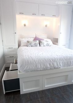 Built-in Wardrobes and Platform Storage Bed.  A fabulous small bedroom.: