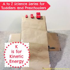 K is for Kinetic Energy - part of the A to Z Science series for toddlers and preschoolers at Inspiration Laboratories. Explore the energy of motion with ramps! Science Experiments For Preschoolers, Science Activities For Kids, Easy Science, Preschool Science, Preschool Learning, Teaching Science, Science Projects, Early Learning, Fun Learning