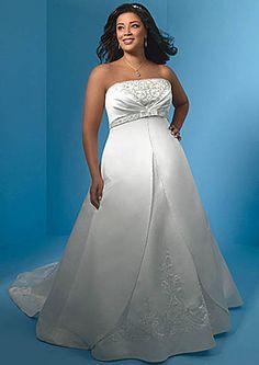 bargain plus size wedding dresses | Plus Size Wedding Dresses > Satin A-line chapel bargain discount plus ...RELOQ.com/$130.00