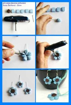 Small blue polymer flower earrings