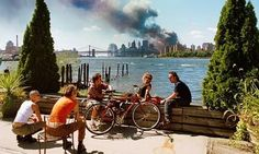 A controversial photograph by Thomas Hoepker of the only 9/11 the world knows. I find the contrast painfully beautiful.