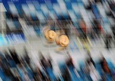 German Sanchez and Ivan Garcia of Mexico compete in the men's synchro platform event during the FINA Diving World Series 2012 event at the Water Cube in Beijing. (AFP/Getty Images)