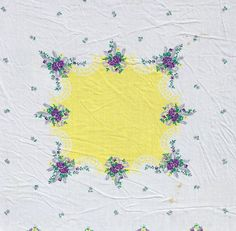 Vintage Linen Square Tablecloth White Yellow Purple by ShabbyNChic