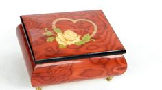 This Vintage Ercolano Wooden Music Box With Inlaid Heart plays O Sole Mio