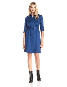 559b11275d2b6 Anne Klein Women s Long Sleeve Shirt Dress - Shop for women s Shirt - Raven  Blue Shirt