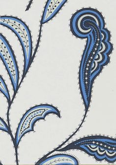 Cactus Paisley Wallpaper Contemporary wallpaper in blue black and grey on a light beige background