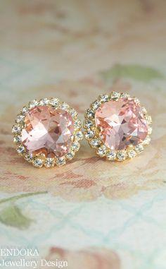Blush pink crystal earrings | Gold blush pink bridal earrings | www.endorajewellery.etsy.com