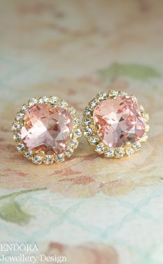 Blush pink crystal earrings   Gold blush pink bridal earrings   www.endorajewellery.etsy.com